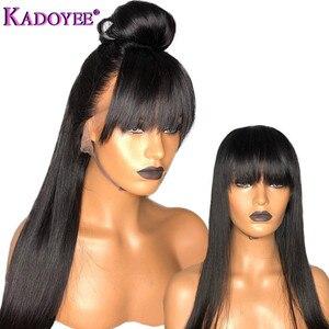 """Image 3 - Kadoyee frente do laço perucas de cabelo humano brasileiro remy cabelo 13x4 """"despedida peruca reta com franja 8"""" 26 """"preplucked 130% 150% densidade"""