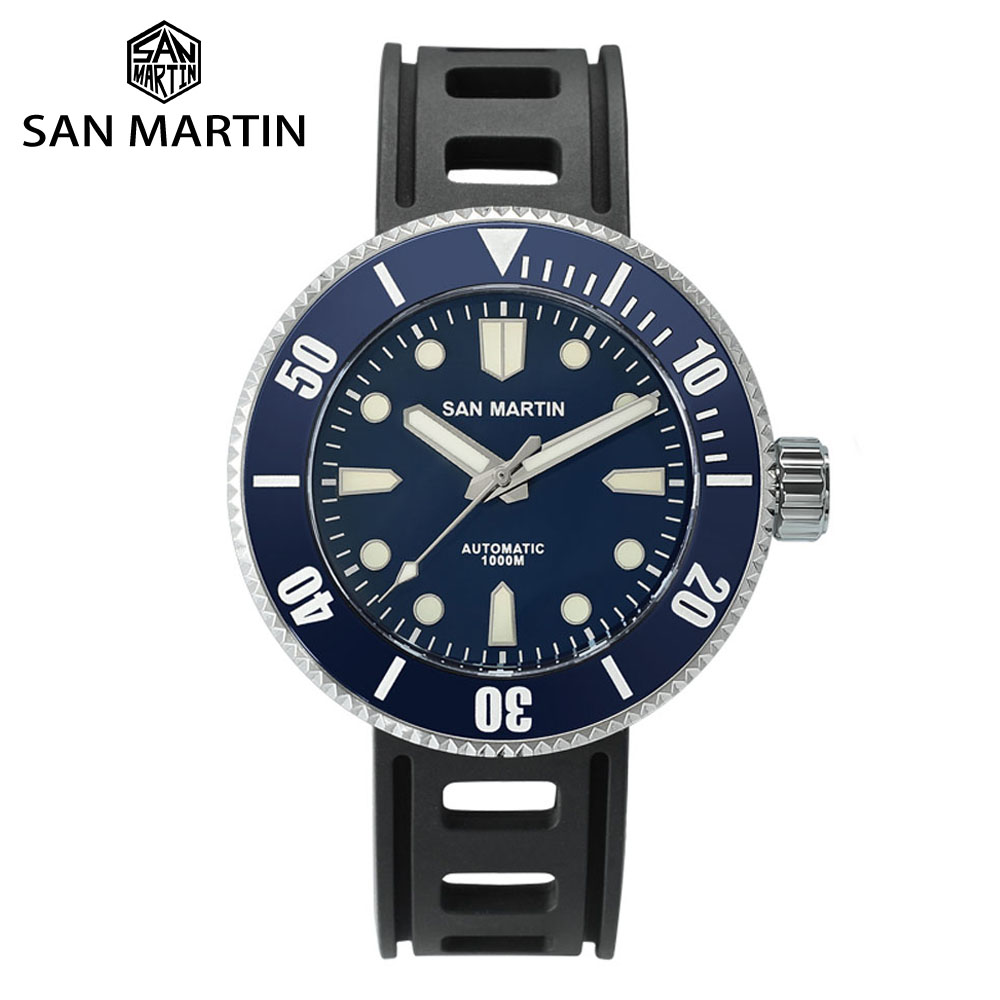 San Martin Professional Diving Men's Mechanical Watch Luminous 1000m Water Resistant Sapphire Crystal Ceramic Bezel