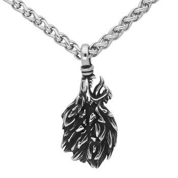 Viking Odin Geri And Freki Wolf Head Pendant Necklace  Viking Necklace