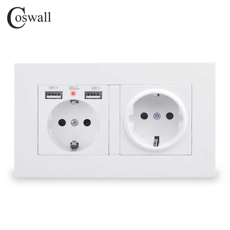Coswall 2 Gang Rusland Spanje Eu Standaard Stopcontact Met 2 Usb Charge Port Verborgen Zachte Led Indicator Pc Panel zwart Wit Grijs