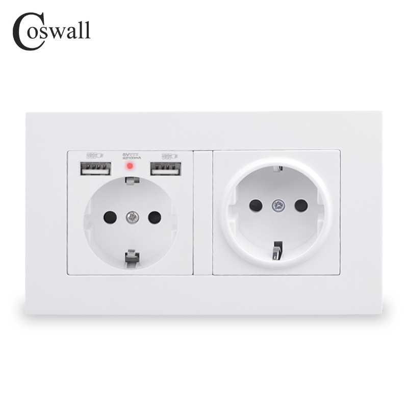 COSWALL 2 Gang Russia Spain EU Standard Wall Socket With 2 USB Charge Port Hidden Soft LED Indicator PC Panel Black White Grey
