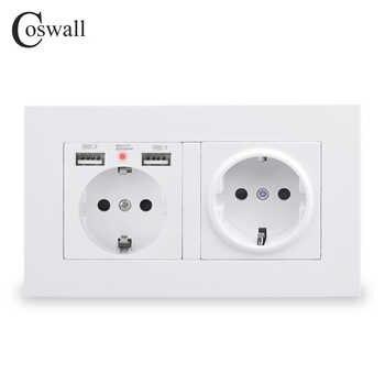 Coswall 2 gang rússia espanha padrão da ue tomada de parede com 2 porta de carga usb escondido macio indicador led painel pc preto branco cinza