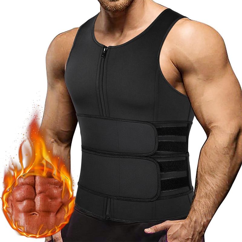 Men Waist Trainer Tank Tops Shapewear Slimming Body Shaper Compression Shirt Underwear for Weight Loss Workout Sauna Sweat Vest
