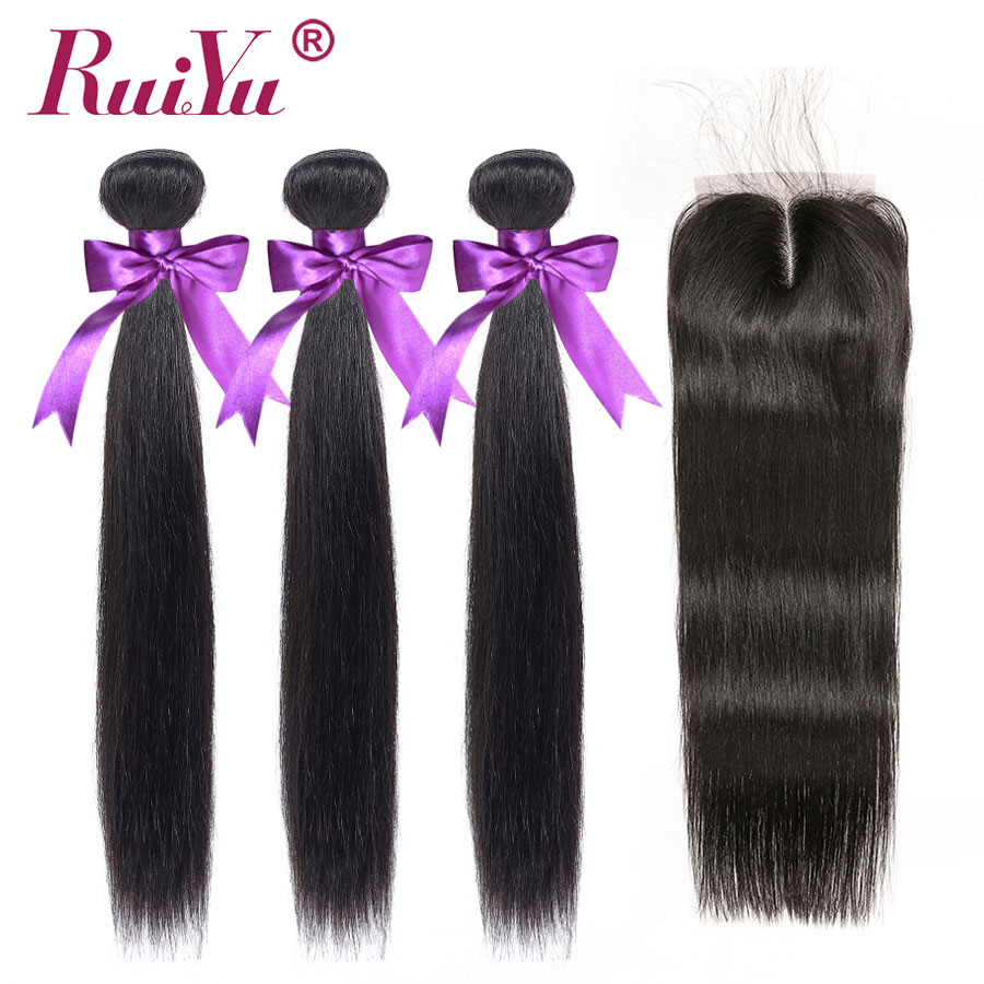 Peruvian Straight Hair Bundles With Closure Remy Human Hair Bundles With Lace Closure With Baby Hair RUIYU Hair