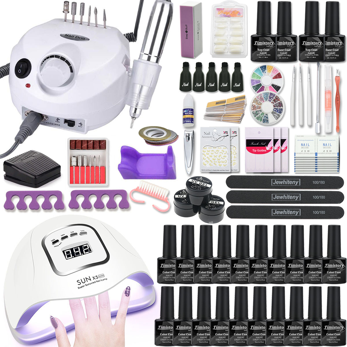Manicure Set Nail Kit 80/54/36W UV Led Lamp With 20PCS Gel Varnish Set Nail Drill Machine Nail Art Tool Set Top Base Coat