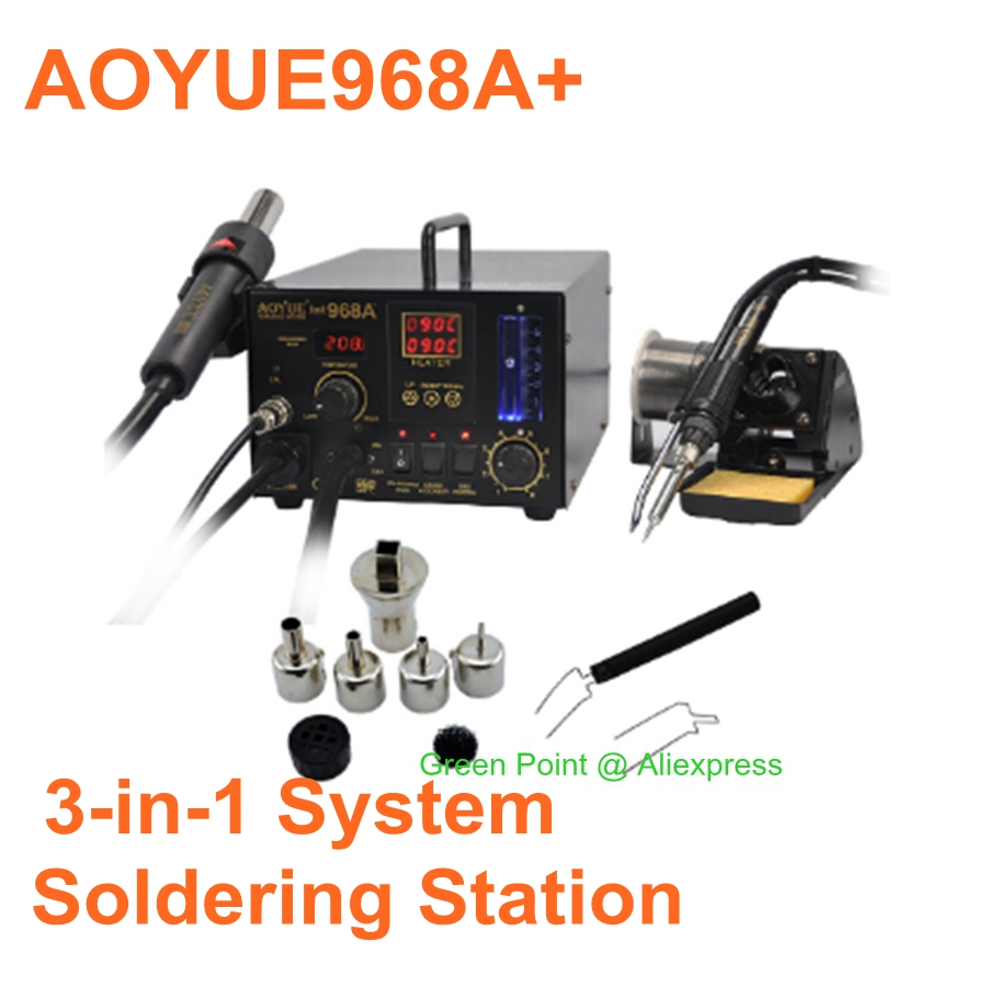AOYUE 968A+ Hot Air Soldering Station  Hot Air Gun 968A+ Multi-fonction 3 In 1 Lead-free Soldering Iron Smoke Absorber