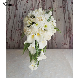 Image 2 - Meldel Bride Waterfall Wedding Bouquet Artificial Vintage Peony Hydrangea Flower Calla Lily Marriage Supplies Luxurious Bouquets
