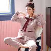 Winter Women's Three layer Cotton Mink Pajamas Can Wear Flannel Home Clothes Thickened Warm Suit Cotton Padded Jacket Pajamas