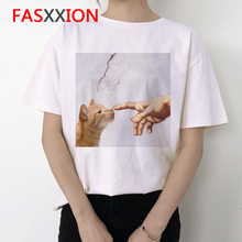 2020 Van Gogh Cat T Shirt Women Funny Graphic Tshirt Print Female Short Sleeve Clothes Casual Michel