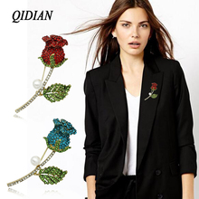 QIDIAN Korea Version Hot Sell Exquisite Rhinestone Flowers  Brooches Jewelry Male Female Clothing Accessories Gift