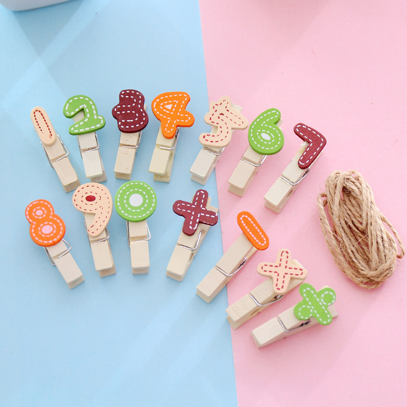 Sandro Creative Wood Color Figures Wooden Clip Photo Clip Hemp Rope Cute Clip To Send 1 Meter Rope Office Supplies
