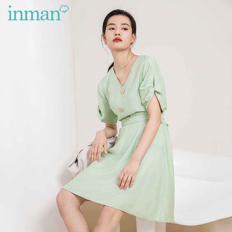 INMAN Office Style 2020 Summer New Arrial Elegant V-neck Single-breasted Nipped Waist Short Sleeve Dress