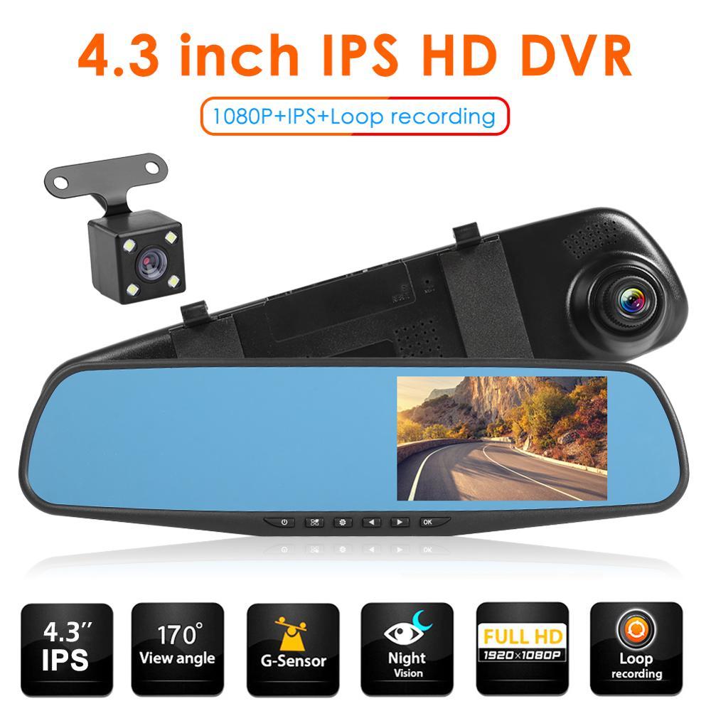 Vodool q103b lente dupla espelho retrovisor do carro dvr câmera 4.3 polegada hd 1080p mp4 480x800 dashboard cam apoio gravação sem emenda