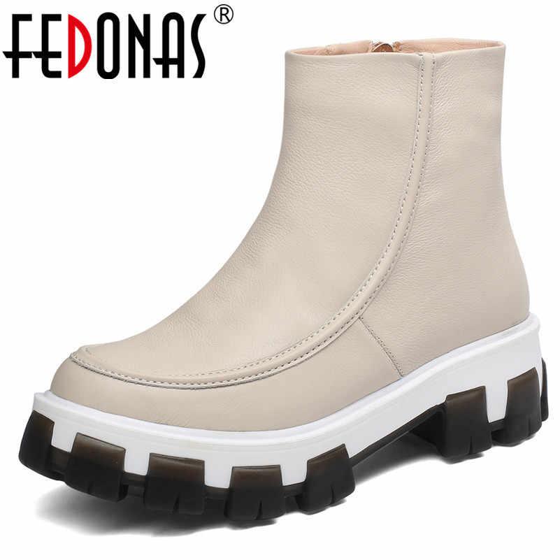 FEDONAS נשים קרסול מגפיים קצרים רוכסן צד 2020 סתיו חורף חם נעלי אישה קלאסי אמיתי עור פלטפורמת מגפיים