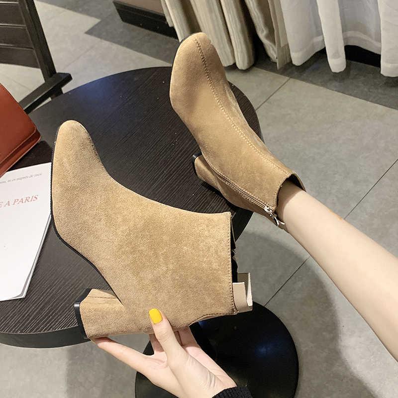 STQ 2020 moda siyah kadınlar için kar botları kalın topuklu kışlık akın çizmeler yüksek topuklu fermuar kürk peluş çizmeler bayanlar 1085