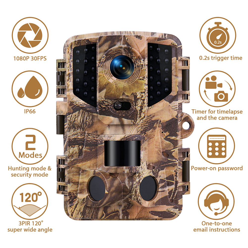 Trail Camera 20MP 1080P Wireless Hunting Cameras with Night Vision Wildlife Surveillance Wild Tracking Cam