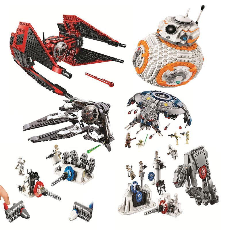 New 2019 Star Wars Red Tie Fighter AT-TE Walker Building Blocks Brick Toys For Children With Legoinglys 75240 75242