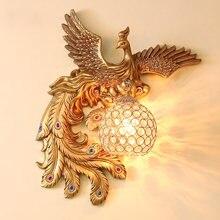 Настенный светильник с птицей Феникс и павлином современные