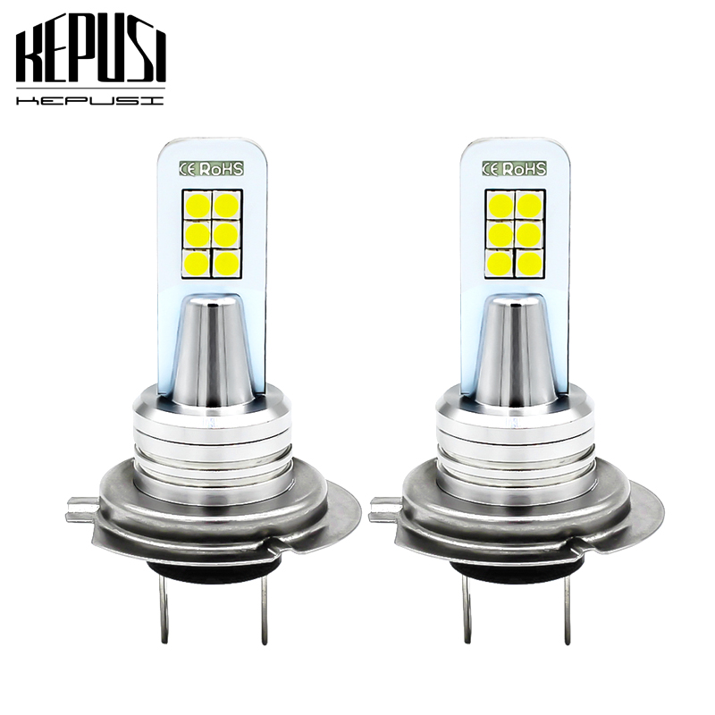 6000K 2x H7 LED 12SMD 3030 Fog Bulb Car Driving Lamp DRL Light White Waterproof
