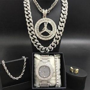 Роскошные мужские часы & ожерелье & Braclete & Ring комбо набор ледяное кубинское Кристальное Ожерелье «Майями» ожерелье цепь хип-хоп ювелирные из...
