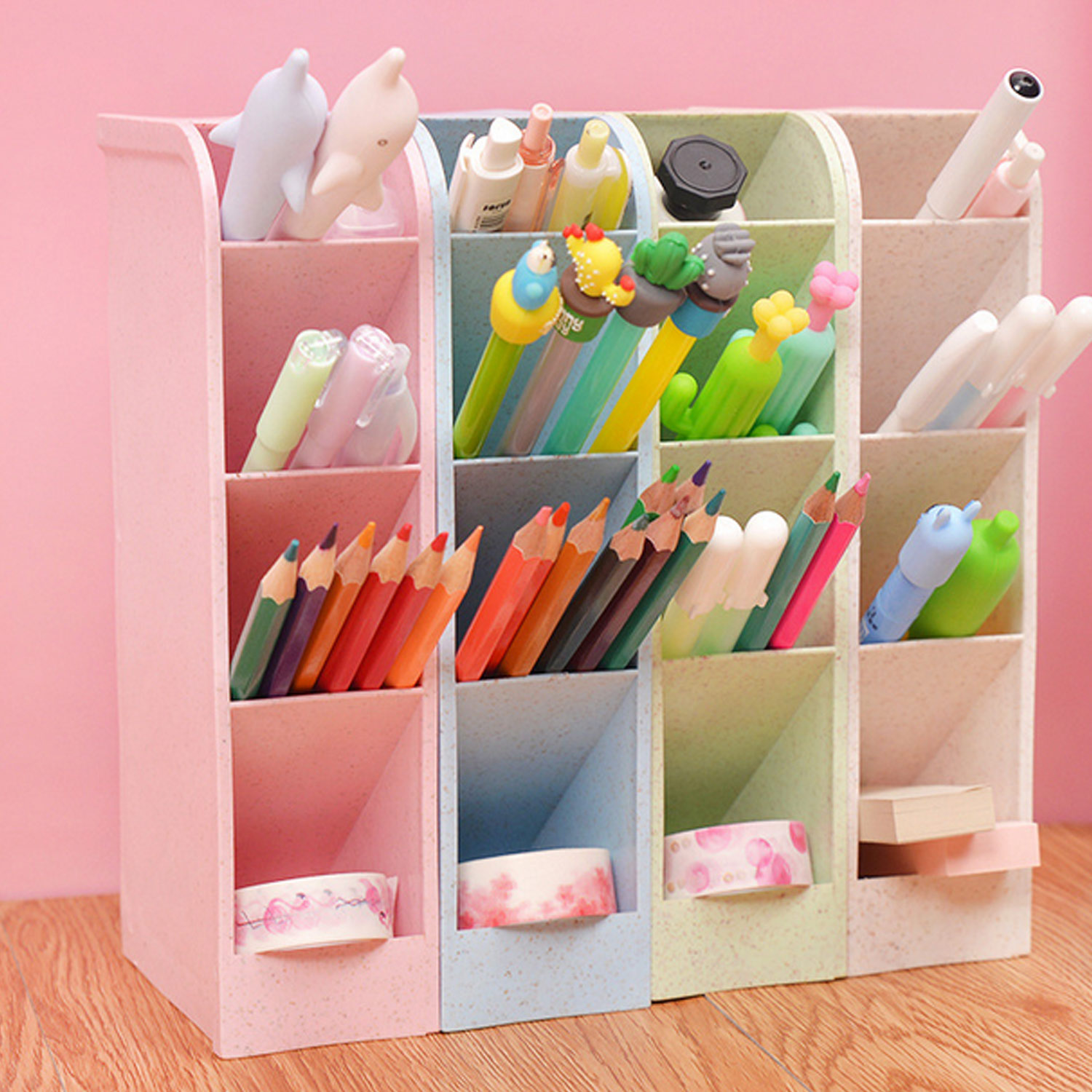 4PCS Assorted Colors 4-Grid Desktop Organizer Storage Box Caddy for Stationery Socks Makeup Tools Home Office School Supplies