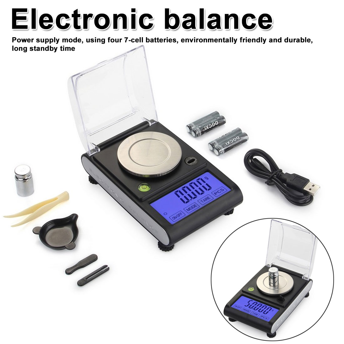 0.001g Precision scales 50g LCD Digital Scale for Jewelry Diamond Gold Medicinal Lab Milligram Gram Scale Electronic