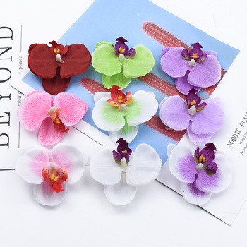 2/5/10 Pieces Butterfly orchid plastic flower wedding decorative diy gifts box scrapbooking home decor artificial plants cheap image