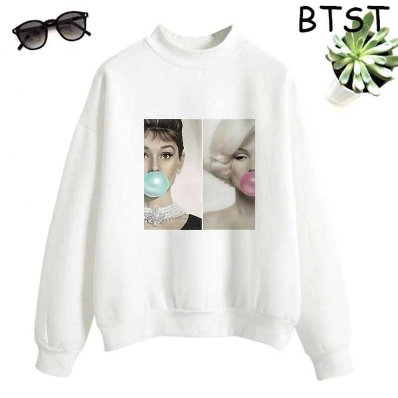 Audrey Hepburn Pink Bubble Kpop Clothes Polyester White Sweatshirt Pullovers Women Sweatshirt Japanese Gothic Harajuku Shirt 9