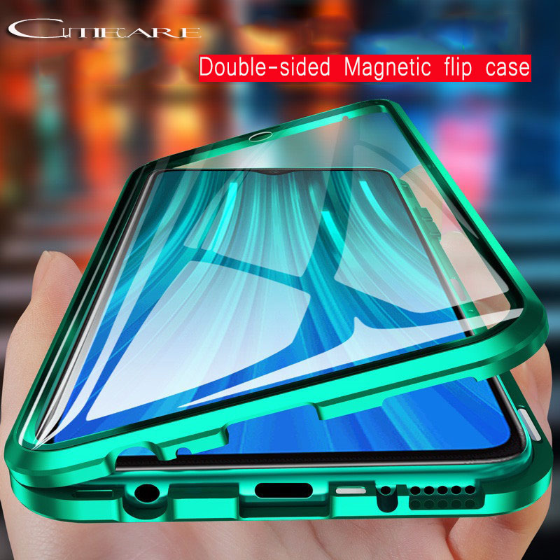 Magnetic Adsorption Metal bumper <font><b>Case</b></font> for <font><b>Samsung</b></font> <font><b>galaxy</b></font> S10 S9 S8 Note 10 9 8 A10 A20 A30 A50 <font><b>A70</b></font> Double side Glass <font><b>flip</b></font> <font><b>case</b></font> image
