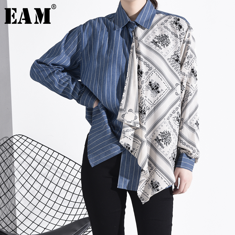 [EAM] Women Blue Pattern Print Split Big Size Blouse New Lapel Long Sleeve Loose Fit Shirt Fashion Tide Spring Autumn 2020 1R409