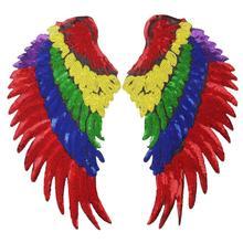 Милые крылья ангела блесток патчи Вышивка Аппликация гладить на одежду или толстовки швейные принадлежности Декоративные патчи EP066