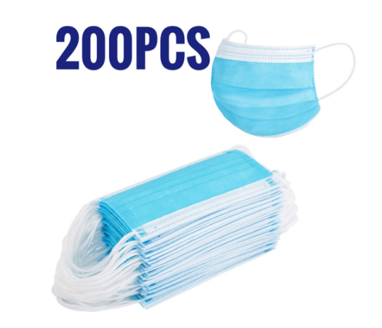 200 PCS Mask Set Earloop Face Mouth Masks 3 Layers Protection Anti-Dust Mask Safe Breathable Mouth Mask Mask