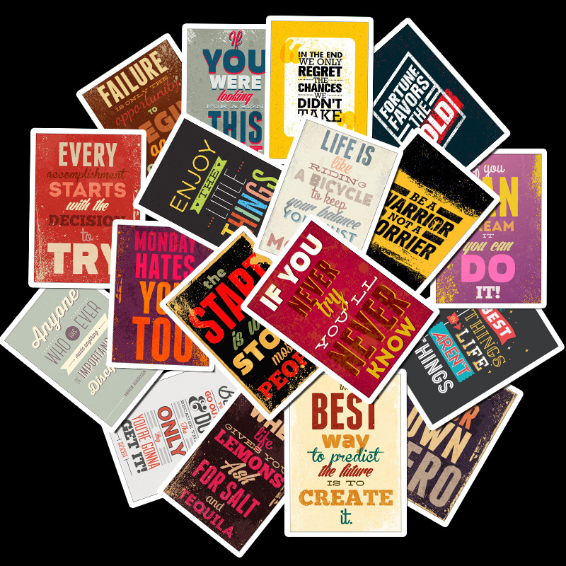25pcs Inspirational Mottos Poster Stickers, Wish Popular Car, Motorcycle, Electric Vehicle, Trunk Waterproof Stickers