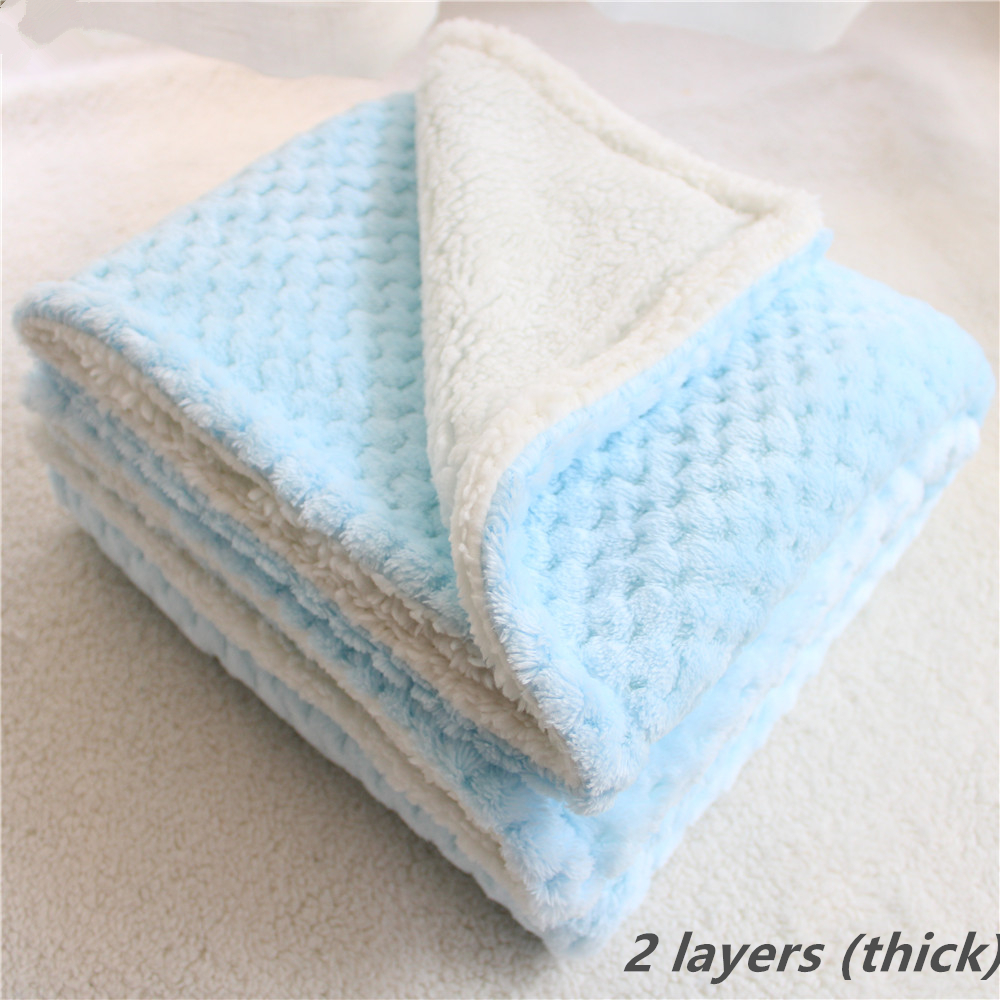 Pack of 2 Baby Pram Blankets 75 cm x 100 cm Blue