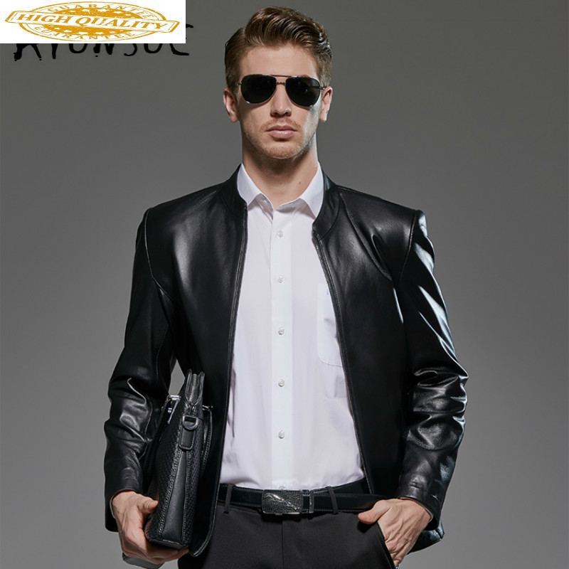 Genuine Leather Jacket Men Spring Autumn Sheepskin Real Leather Jacket Men Plus Size 8XL Jaqueta De Couro 181802 YY1194