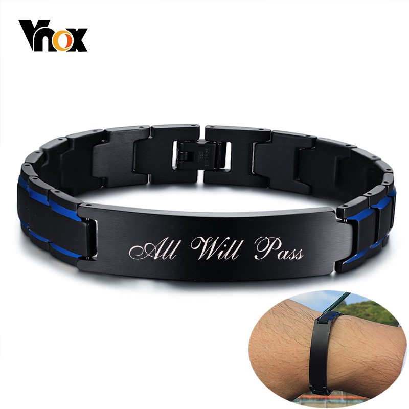 Vnox Men Personalized Custom Engrave ID Bracelets Black and Blue Color Stainless Steel Link Chain 8.46