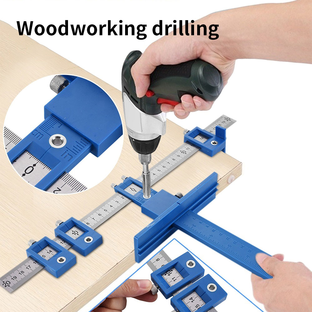 Woodworking Drill Guide Punch Locator Detachable Hole Punch Jig Tool Center Drill Bit Guide Set Wood Drilling Woodworking Tool