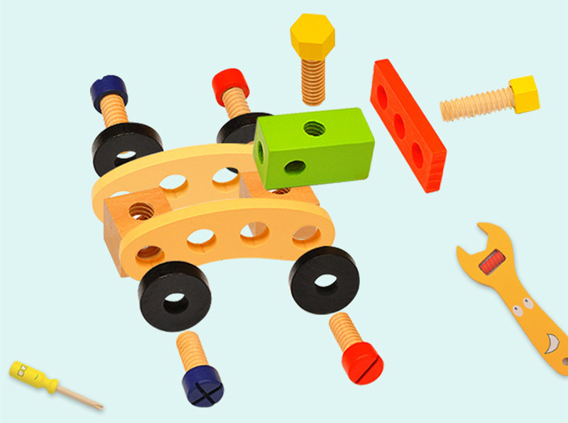 Kids Wooden Toolbox Pretend Play Set Educational Montessori Toys Nut Disassembly Screw Assembly Simulation Repair Carpenter Tool 5