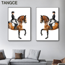 Abstract Rinding Horse Painting Modern Canvas Posters and Prints Horses Wall Art Pictures for Living Room Entrance Big Posters