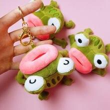 Green Frog Pepe Fluffy Bags Car Key Ring Pendant Gifts Sad Frog Keyring For