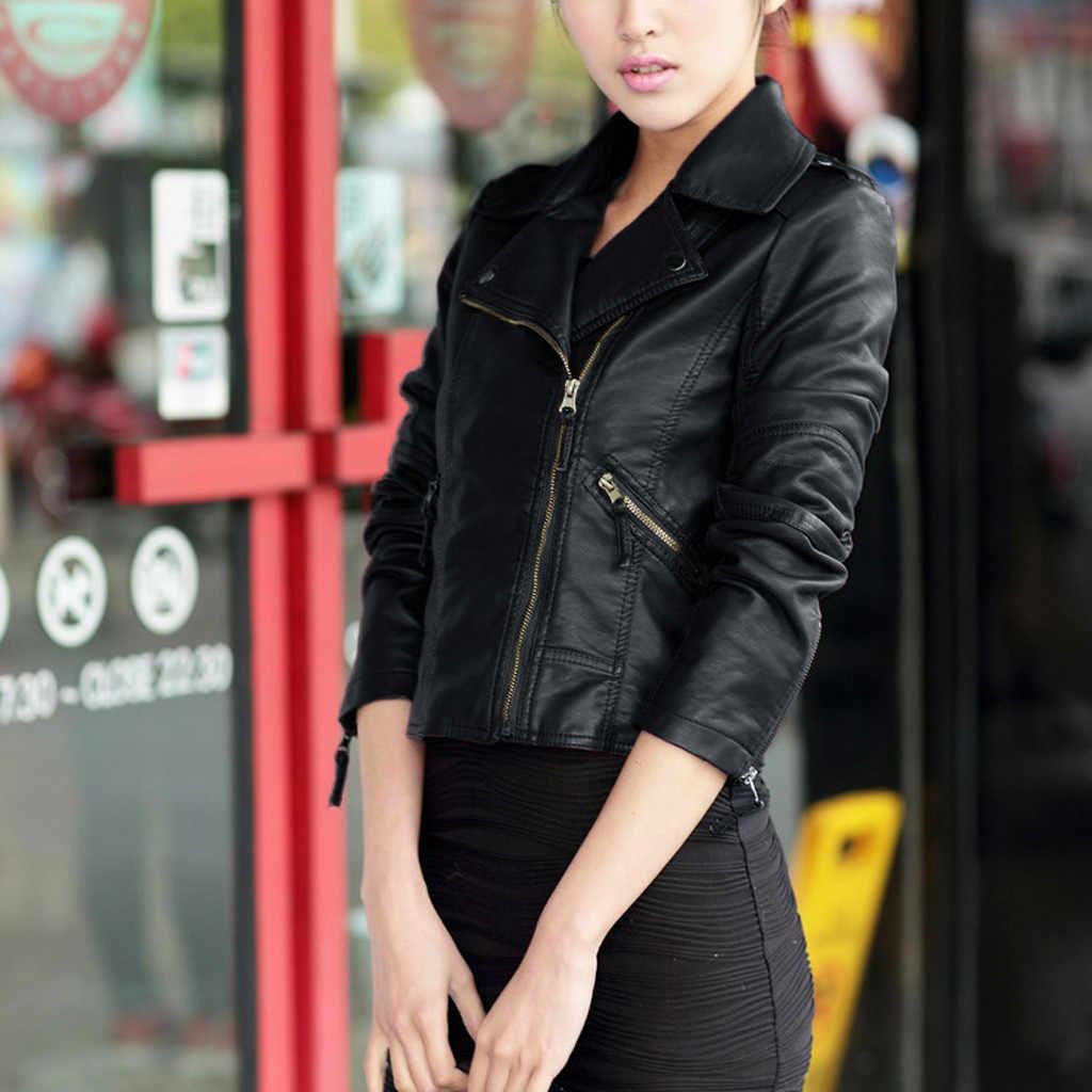 Trendy Women PU Leather Zipper Jacket Slim Biker Motorcycle Coat Punk Outwear