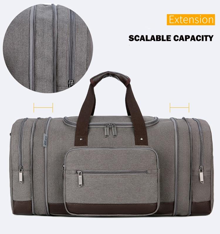 Canvas Travel Duffle Bags High Quality Travel Hand Luggage Bag Men Multi-functional Large Travel Organizer Weekender Travel Bag
