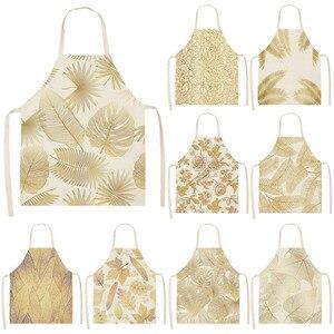 Image 1 - 1Pcs Golden Flowers Leaf Kitchen Apron Woman Sleeveless Cotton Linen Apron Home Cooking Baking Bibs Cleaning Tool 53*65cm WQ0127