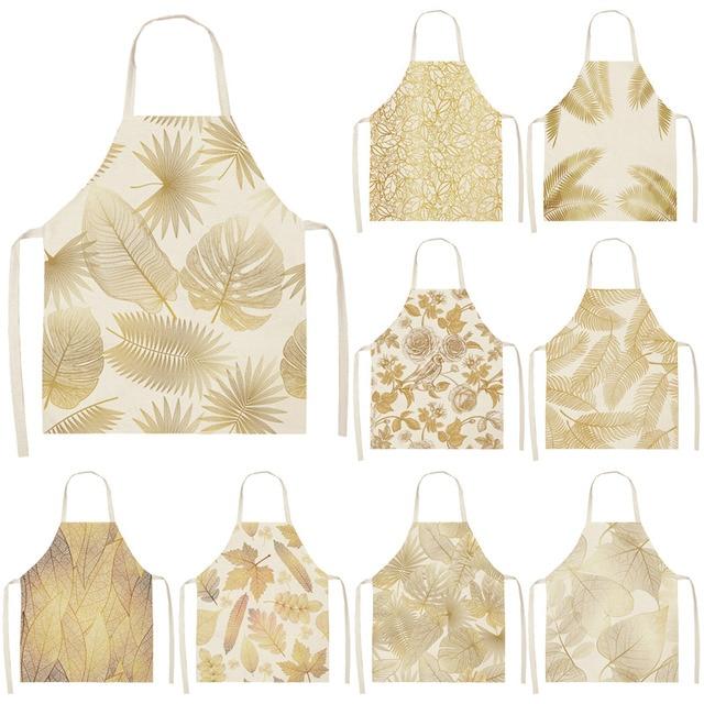 1Pcs Golden Flowers Leaf Kitchen Apron Woman Sleeveless Cotton Linen Apron Home Cooking Baking Bibs Cleaning Tool 53*65cm WQ0127