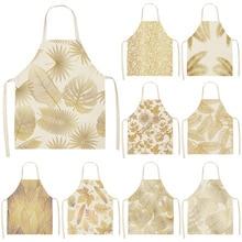Delantal de cocina con hojas y flores doradas para mujer, sin mangas, de lino y algodón, para cocinar en el hogar, herramienta de limpieza, 53x65cm, WQ0127, 1 Uds.