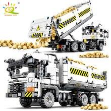 HUIQIBAO 799 adet teknik mühendislik DAMPERLİ KAMYON yapı taşları araç araba tuğla seti eğitim DIY oyuncaklar çocuklar için erkek