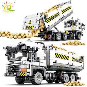 Image 1 - HUIQIBAO 799pcs טכני הנדסת Dump משאית אבני בניין רכב לבני מכונית סט חינוכי DIY צעצועים לילדים בנים