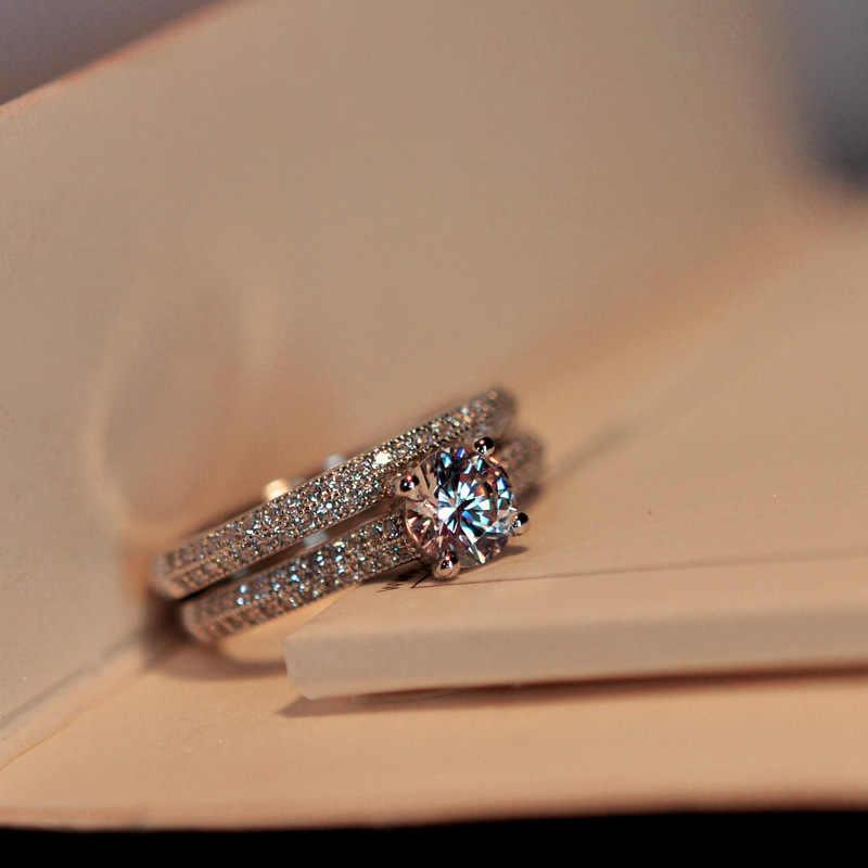 Vintage หญิงคริสตัลงานแต่งงานแหวนแฟชั่นสีดำเจ้าสาวแหวนหมั้นแหวนสัญญา Zircon แหวนหินสำหรับผู้หญิง