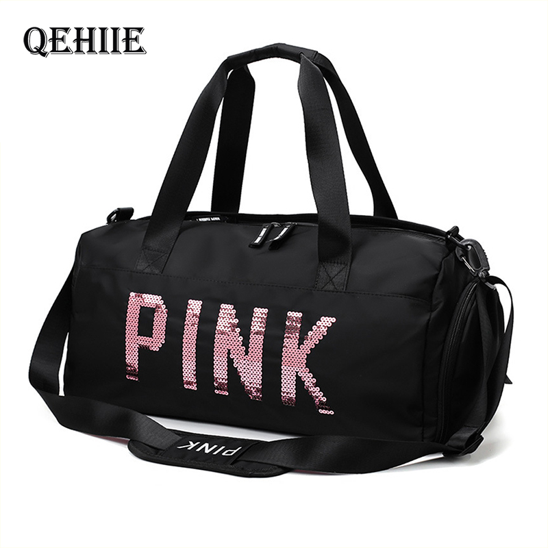 Lady Black Travel Bag VS Pink Color Sequins Shoulder Bags Women Handbag Women Weekend Portable Nylon Tote Waterproof Handbags