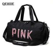 Lady Black Travel Bag VS Pink Color Sequins Shoulder Bags Women Handbag Women Weekend Portable Nylon Tote Waterproof Handbags